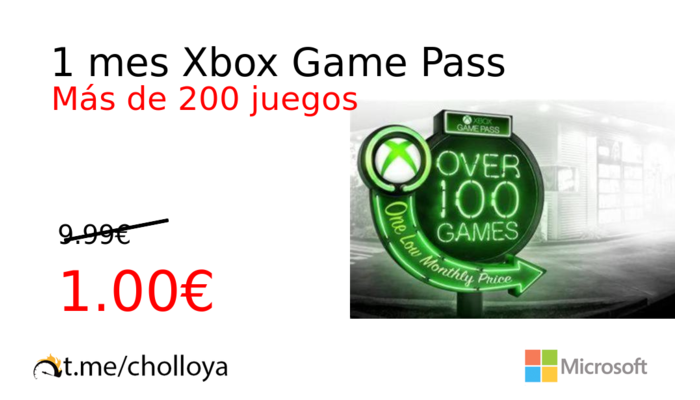 1 mes Xbox Game Pass