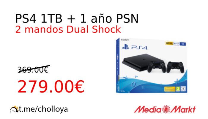 PS4 1TB + 1 año PSN
